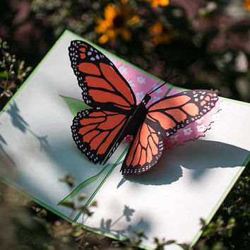 Butterfly Pop Up Card, Summer Butterfly Pop Up Card, Monarch Butterfly 3D Pop Up Card, Monarch Butterfly card, Summer butterfly card