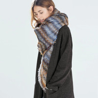 Winter Wool Pattern Tassel Scarf