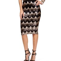 Black Scalloped Sequin Pencil Skirt