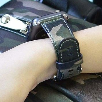 Camouflage Genuine Leather Apple Watch Band