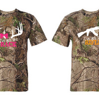 Couples T Shirts, I've Got the Rack & I've Got the Rifle,  Fluorescent Orange and Fluorescent Pink on Realtree Camo, Front Design, Outdoors