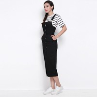 Buttoned Overall Pencil Dress