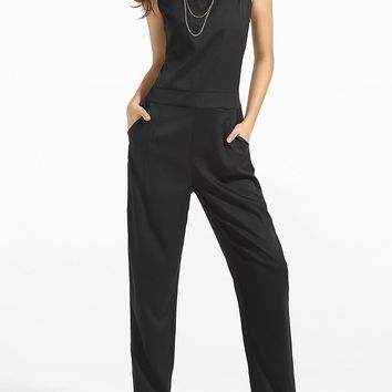 Casual Crew Neck Back Hole Plain Straight Jumpsuit