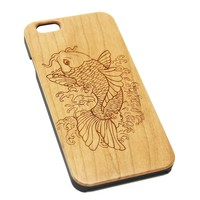 Fish Koi Wood Engraved iPhone 6s Case iPhone 6 Case iPhone 6s 6 Plus Cover Natural Wooden iPhone 5s 5 Case Samsung Galaxy S6 S5 Case D122