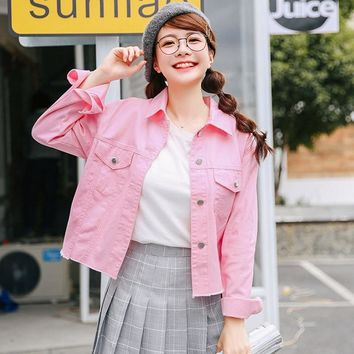 New Korean Soft Sister Pink Jacket  Women Fashion Turn-down Collar Long Sleeve Slim Denim Jackets Autumn Female Coat