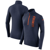 Women's Denver Broncos Nike Heathered Navy Element Half-Zip Wordmark Performance Jacket