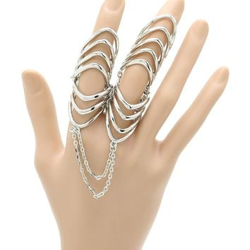 Sliver Layered Metal Armour Knuckle Ring