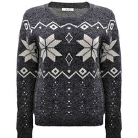 ZLYC Women Winter Soft Snowflake Print Casual Pullover Jumper Christmas Sweater Gray