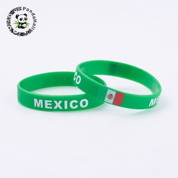 "New Silicone Bracelets, for 2018 World Cup Wristband Souvenir, with Flag Pattern, SpringGreen, 2-3/8""(61mm); 12mm"