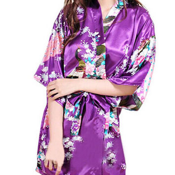 2015 Silk Kimono Robes For Women Satin Bathrobe Lon Silk Robes For Bridesmaids Longue Femme Women Dressing Gown Bridesmaid Robe