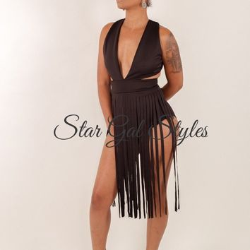 Pamela Black Fringe Bodysuit Dress
