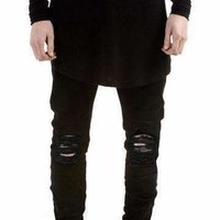 Mens Ripped-Hole Skinny Destroyed Torn Jeans