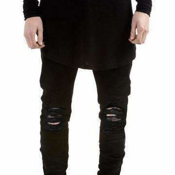 Hzijueblack Ripped Jeans Men With Holes Super Skinny Famous   Fit Destroyed Torn Jean Pants For