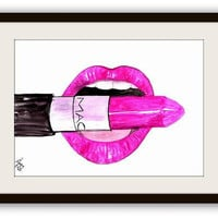 Between lips, pink, MAC, Lipstick pipe, stains, Makeup, Wall Art, decor, watercolor painting, decal  decals, print, chanel, swatches, beauty