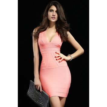 Pink Ribbed  Classical Party Bandage Dress LAVELIQ