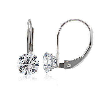 White Gold Cubic Zirconia Round Earrings