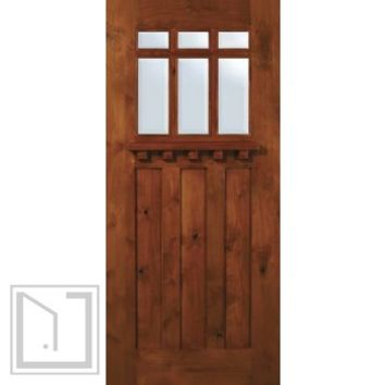 Slab Single Door 80 Wood Alder Craftsman 3 Panel 6 Lite TDL Glass