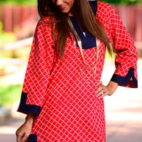The Jackie Tunic, Red/White/Navy