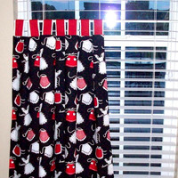 Kitchen cafe curtains / 2 panel LINED Tiers / Valance sold seperately / Fabric with apron's / Custom Kitchen Cafe Tiers / Red, white, Black