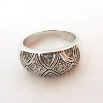 Vintage Sterling Silver Dome Ring, Pave CZs Wide Band Ring, Size 9
