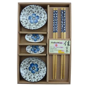 Asian Chopsticks, Holder, and Bowls Dining Set Blue