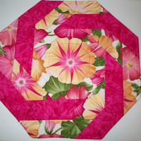Quilted Table Topper Set - Octagon shapes - Floral Prints - Hot Pinks Yellows - Three pieces