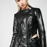 Irregular Shaped PU Leather Jacket