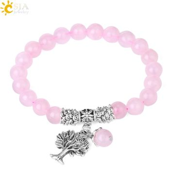 CSJA Reiki Pink Quartz Diffuser Bracelet Natural Crystal Gem Stone Mala Beads Tree of Life Charms Meditation Ethnic Jewelry E723