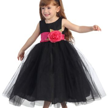 Black Polysilk Flower Girl Dress w. Ballerina Tulle Skirt & Custom Sash 6M-12Y
