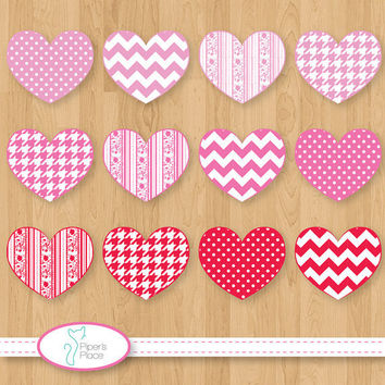 Valentine Hearts Clipart by pipersplace1 on Etsy
