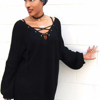 Oversize Long Sleeve Criss Cross Sweater in Black