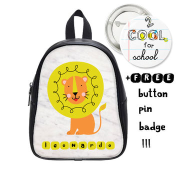 Custom Kid Schoolbag + FREE pin button badge - Lion backpack - Personalized school bag - marble daypack - cute animal design with your name
