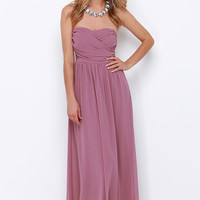 Royal Engagement Strapless Mauve Maxi Dress