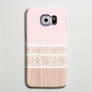 Pink White Lace Floral Samsung Galaxy S6 Edge Case,Galaxy S6 case,Samsung S5 Case S4 Case S3 Case,Samsung Galaxy Note 2/3 Case Wood Print