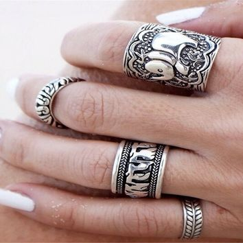 Sunscsc Alloy Vintage Retro Silver Plated Elephant Joint Knuckle Nail Ring Set, Pack of 4