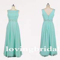 Long Chiffon Light Ice Blue A-line Formal Party Evening/Prom/Bridesmaid dress/Party Dresses