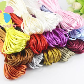 Lucia crafts Satin Rattail Silk Macrame Cord Nylon knot Rope Making Craft Supplies