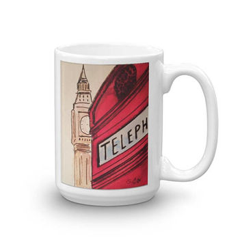 London coffee mug, British coffee cup, Artsy coffee mug, Watercolor tea mug, British phone booth, Architecture mug, Big Ben artwork