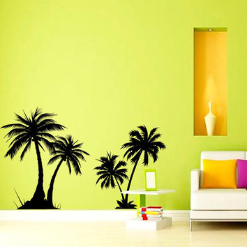 Wall Decal Couple Palm Branch Beach Tree Hawaii Sun Summer Decals Wall Vinyl Bedroom Wall Home Family Decor Art Vinyl Decal Sticker KV41