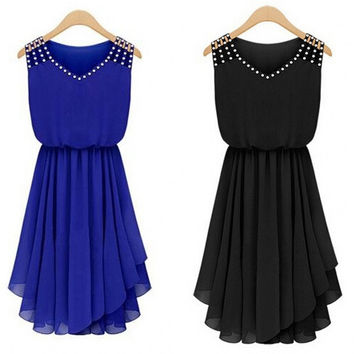 Summer Dress 2015 Women Vintage Rhinestone Blue,Black Royal Chiffon Dresses = 5698441985