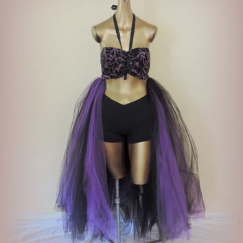 Adult tutu dress, maleficent costume dress, steampuck tutu dress, black corset, goth gothic tutu dress,purple and black  halloween costume