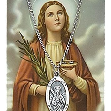 "ST. LUCY PRAYER CARD SET, PEWTER MEDAL INCLUDES 18"" SILVERTONE CHAIN & LAMINATED HOLY CARD."