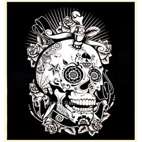 Black  White Psychedelic 3D Mindful Skull Wall Tapestry on RoyalFurnish.com