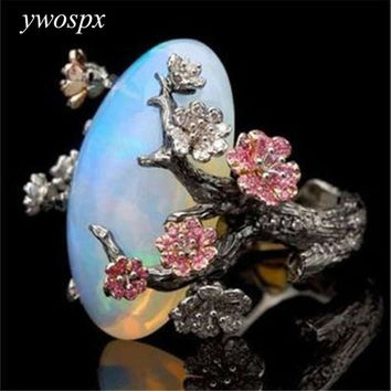 Vintage Silver Color Ring White Fire Opal Flower Rings For Women