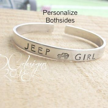 Jeep, Jeep Wrangler, Personalised Gift, Personalized Cuff Bracelet, Engraved Bracelet, Silver Bangle, Gifts for Her, Christmas Gifts