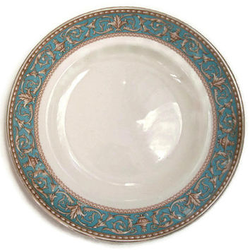 Vintage Royal Ducal China Bread and Butter Plates Atlanta Pattern Blue and Brown Set of 6