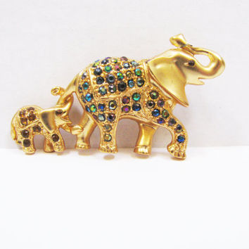 Christmas SALE  Elephant Jewelry  Animal Mom and Baby  Rhinestone Brooch  Purple Green Stones  Gold Tone Finish  Scarf Pin  Gift Under 20