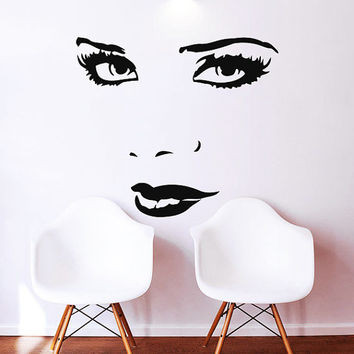 Makeup Wall Decal Vinyl Sticker Decals Home Decor Mural Make Up Girl Eyes Woman Fashion Cosmetic Hairdressing Hair Beauty Salon Decor SV6043