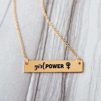 Girl Power Gold / Silver Bar Necklace
