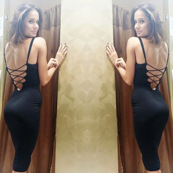 Black Spaghetti Straps Crisscross Backless Bodycon Midi Dress